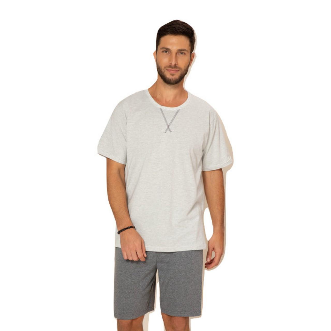 Pijama curto de algodão masculino blusa manga short mesclá