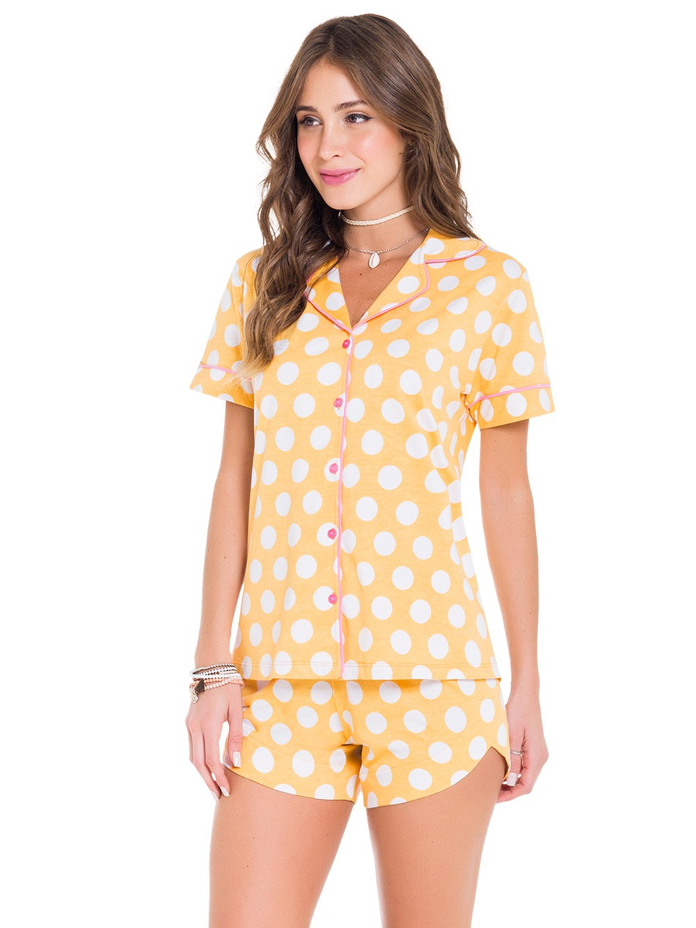 Pijama curto de calor ivete sangalo verão botões abertos