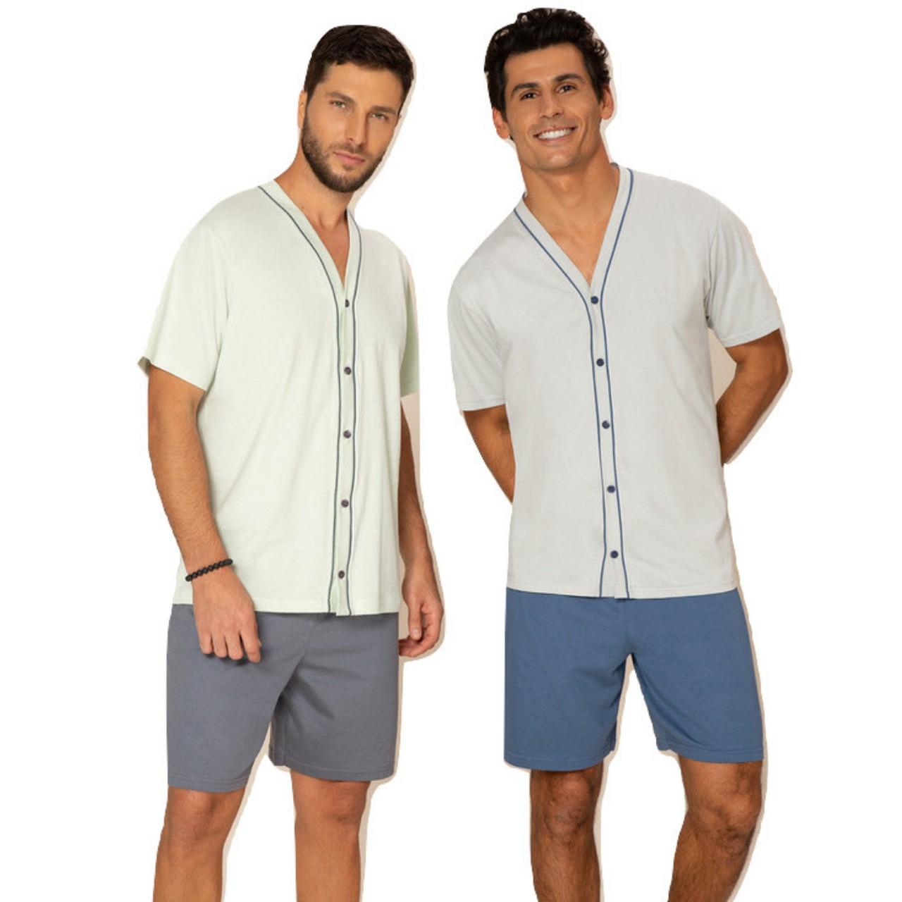 Pijama curto masculino blusa abertura frontal bermuda homem