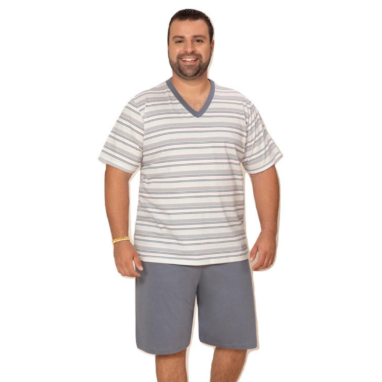 Pijama curto p/ homem verão plus size blusa listrada bermuda