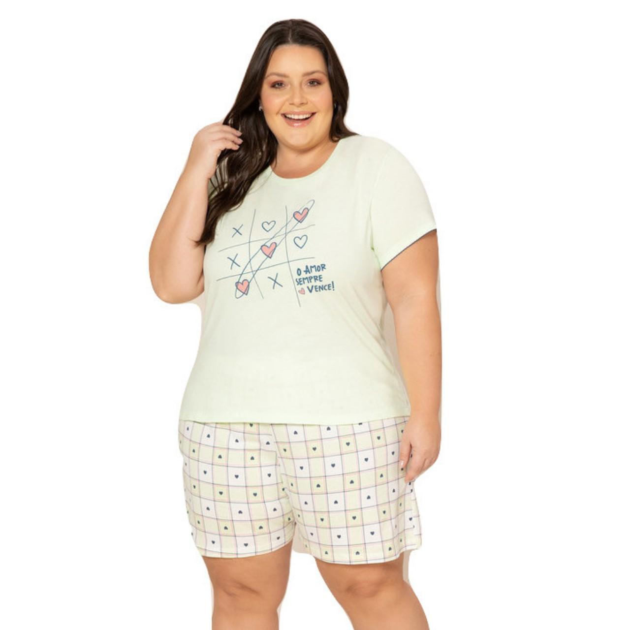 Pijama curto plus size feminino blusa com manga bermuda