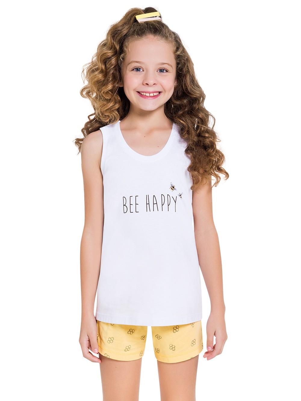 Pijama de abelinha infantil filha regata short verão