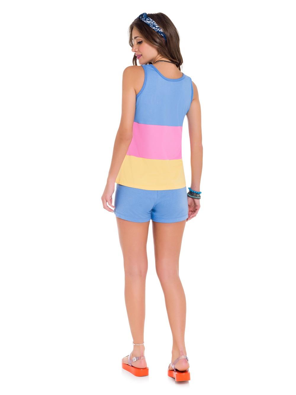 Pijama de calor feminino baby doll colors regata azul verão