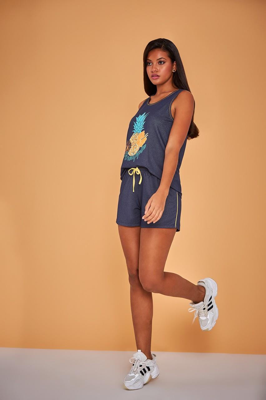 Pijama doll regata jeans pineapple fresquinho estiloso