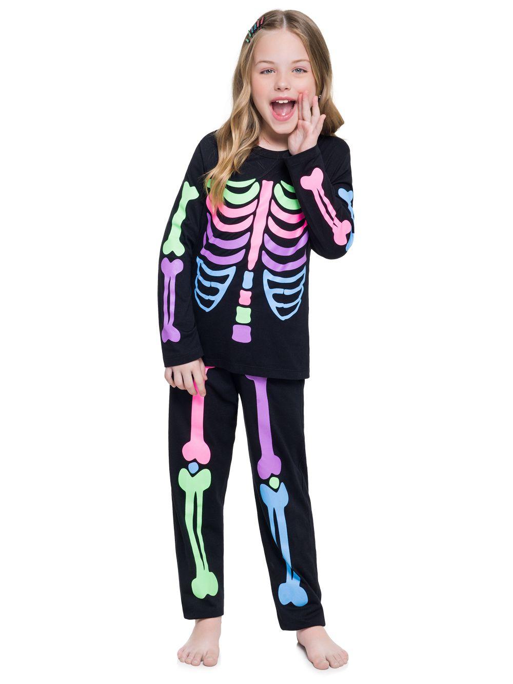 Pijama esqueleto infantil menina acompanha saia organza cristal