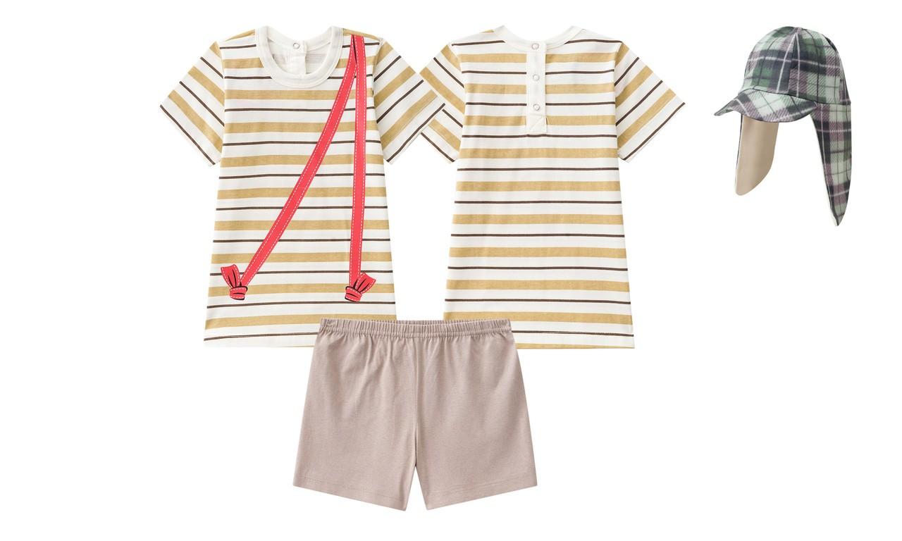 Pijama bebê fantasia manguinha calor do chaves com chapéu