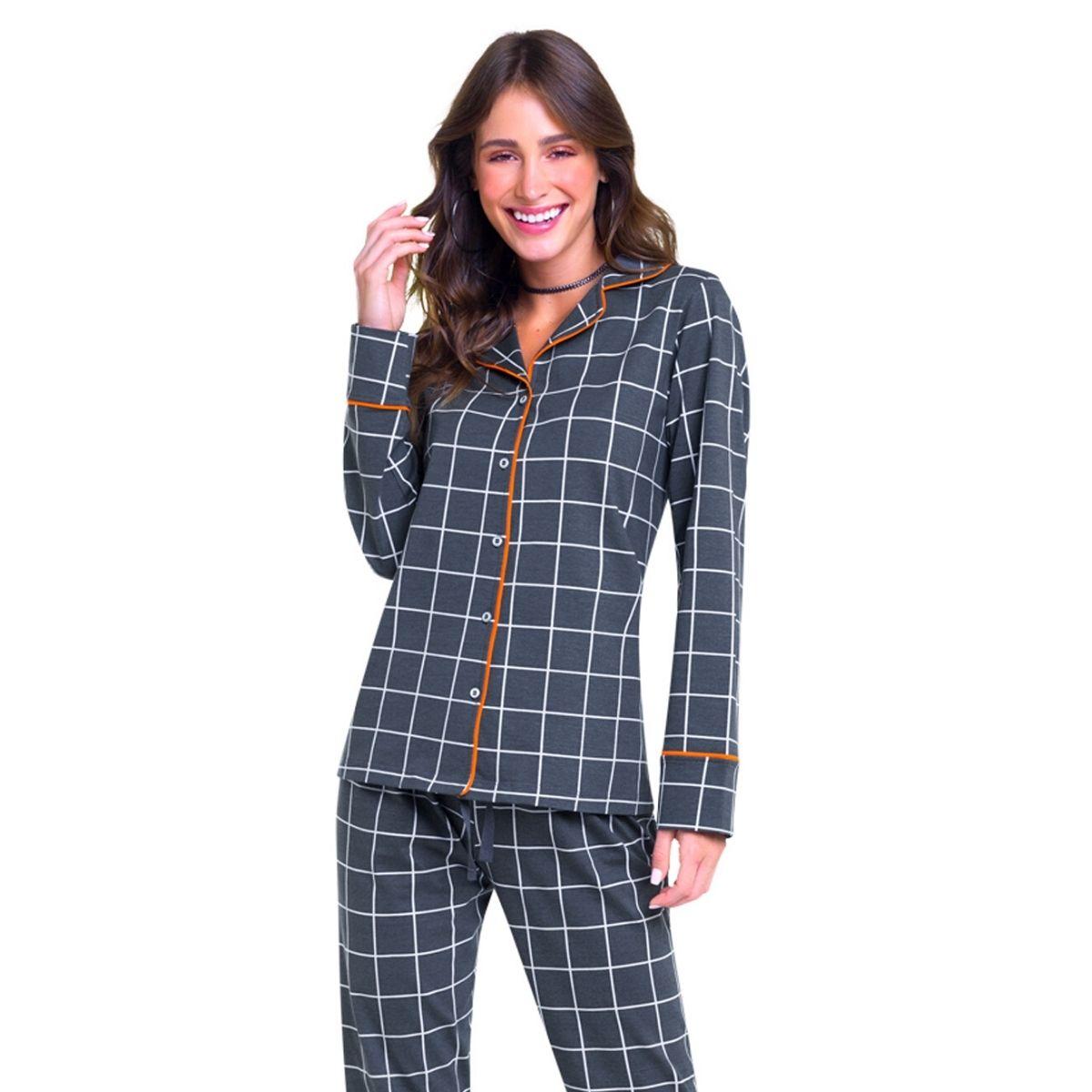 Pijama feminino adulto de botão xadrez manga longa inverno
