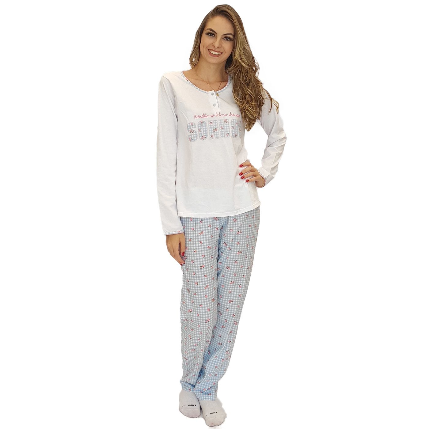 Pijama feminino adulto frio blusa botão calça xadrez