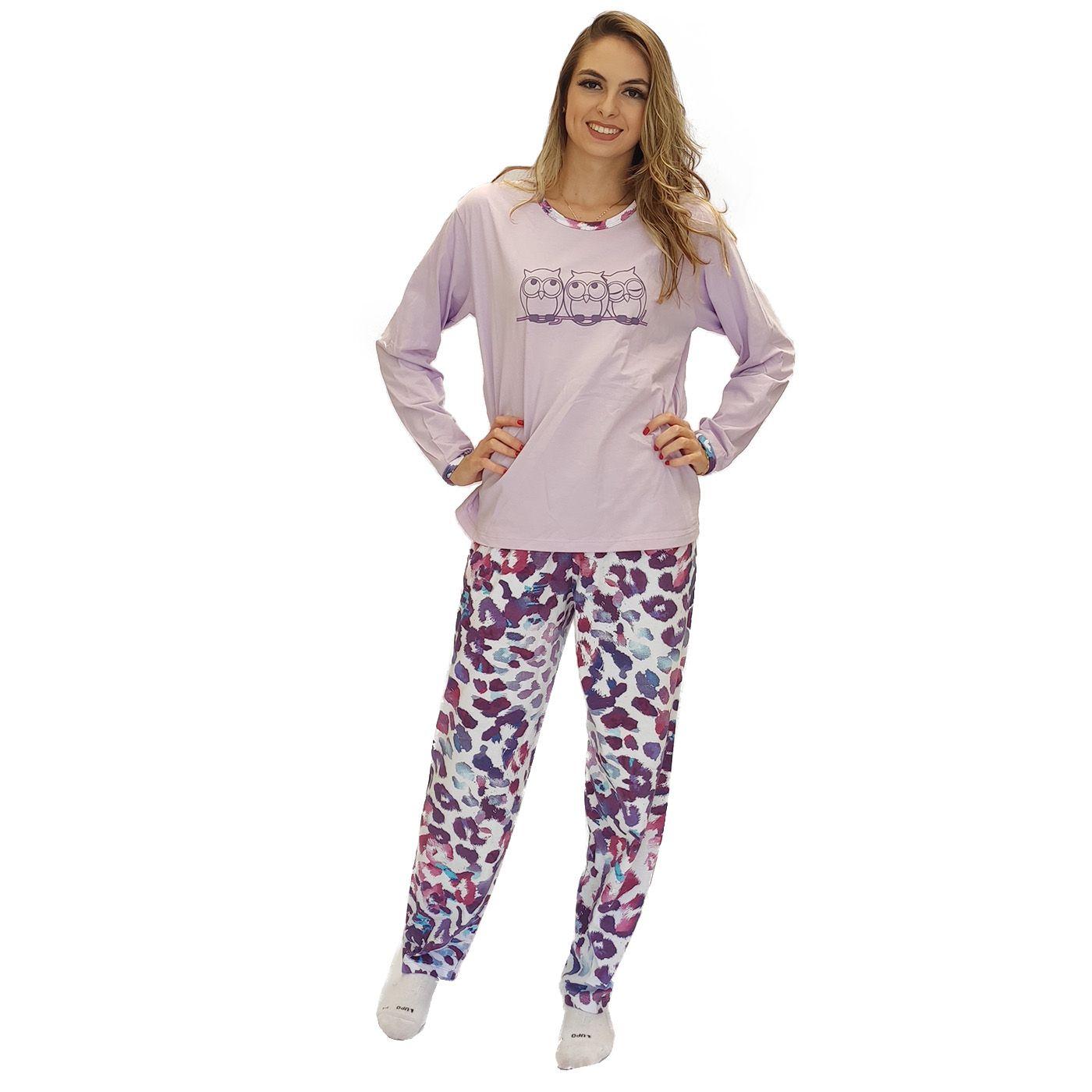 Pijama feminino adulto inverno algodão