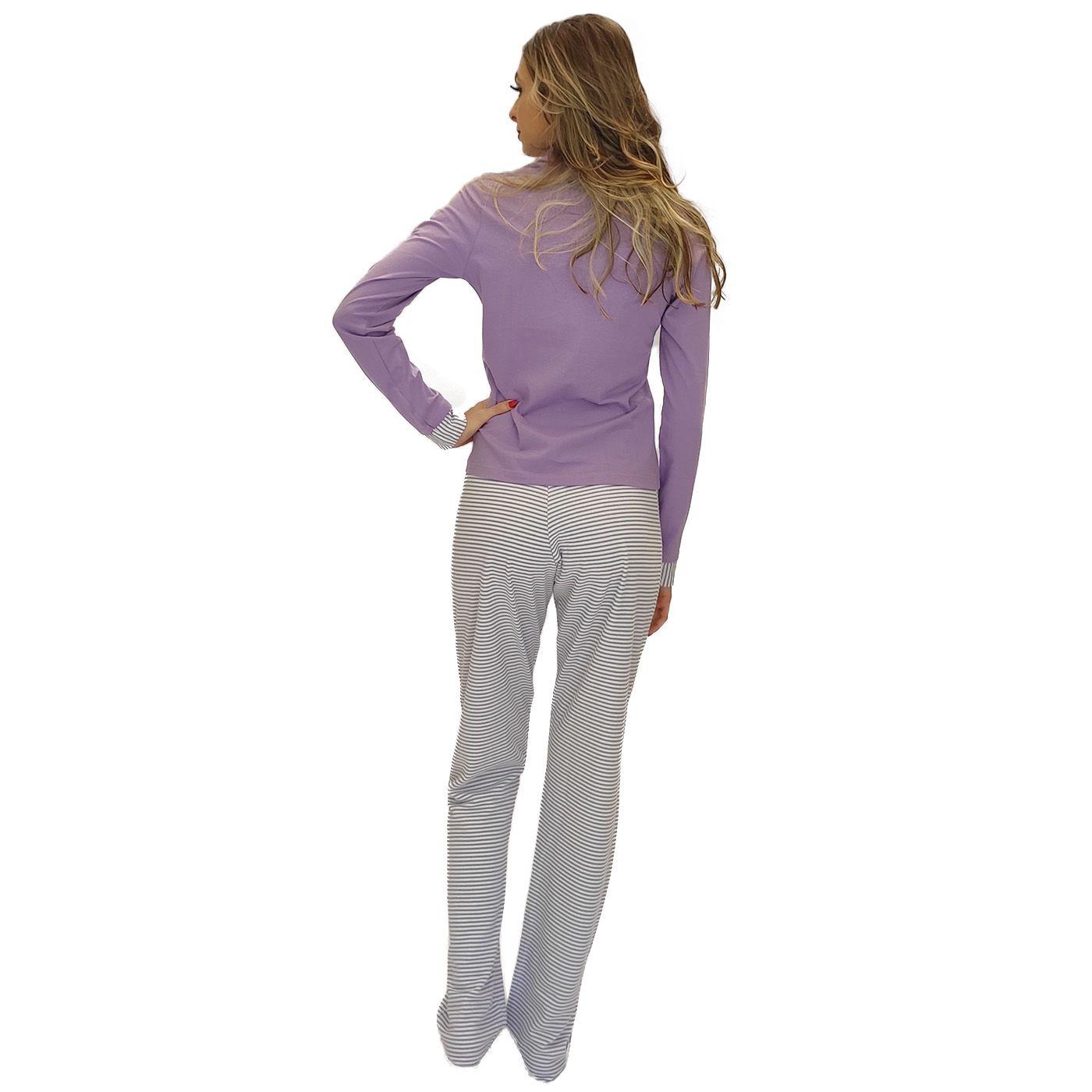 Pijama feminino adulto inverno blusa com faixa detalhe
