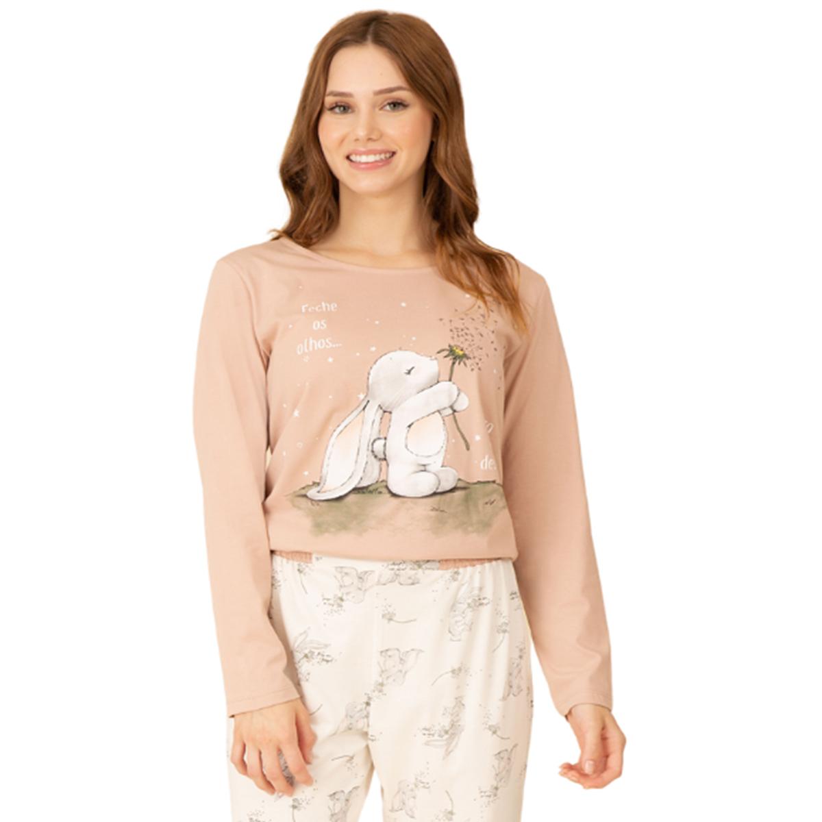 Pijama feminino algodão frio bichinho coelho rosa