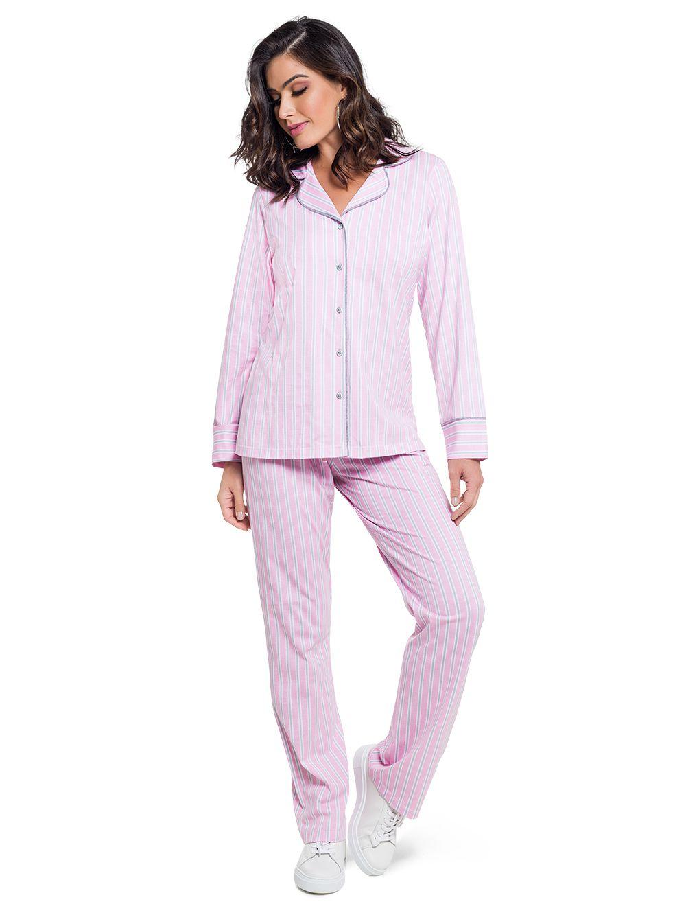 Pijama feminino botão inverno clássico amamentação listrado