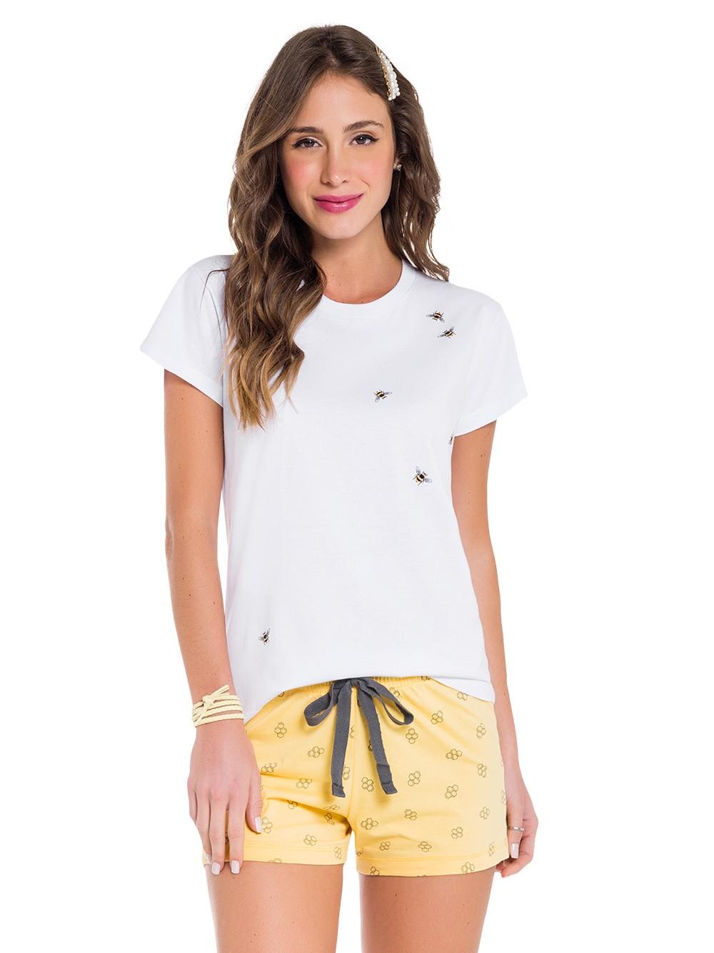 Pijama feminino curto blusa manga curta short abelinha mãe
