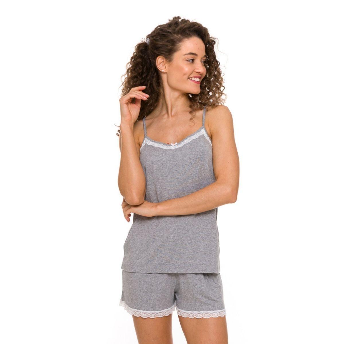 Pijama feminino curto de alcinha com renda baby doll
