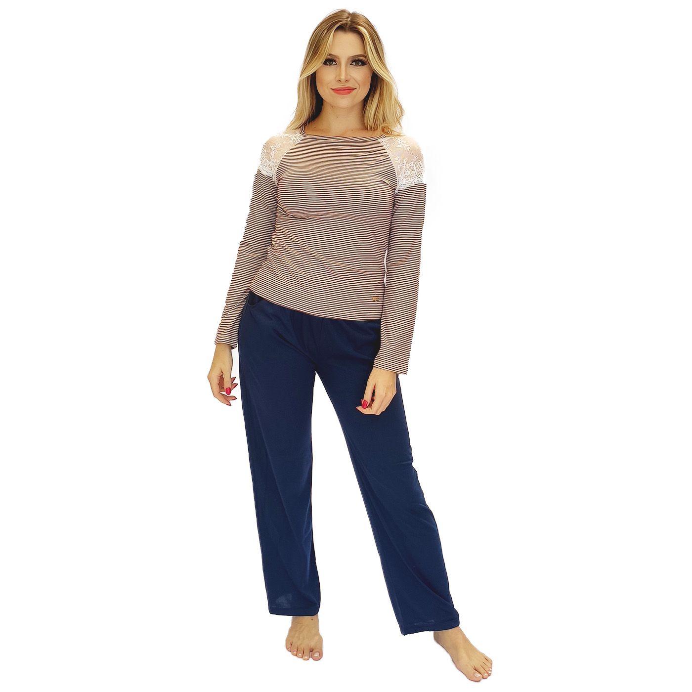 Pijama feminino frio blusa detalhe renda calça bolso