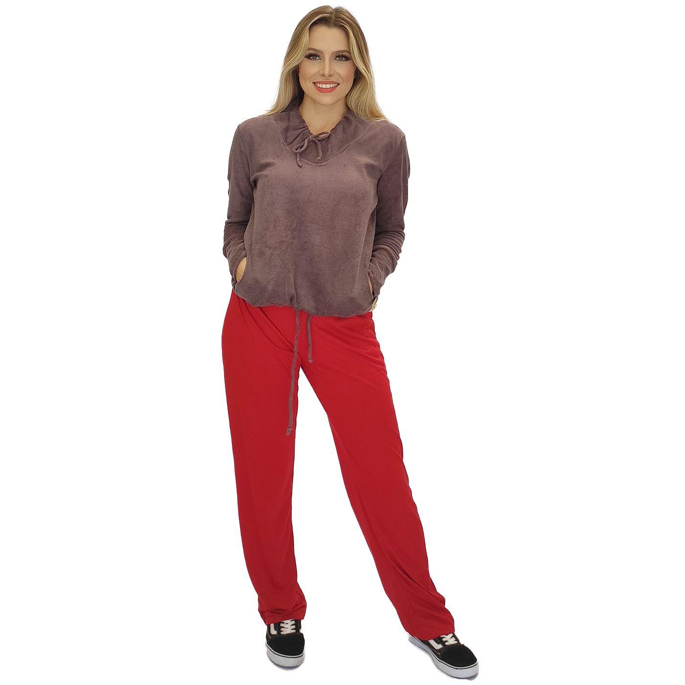 Pijama feminino frio blusa plush com bolso calça molinha