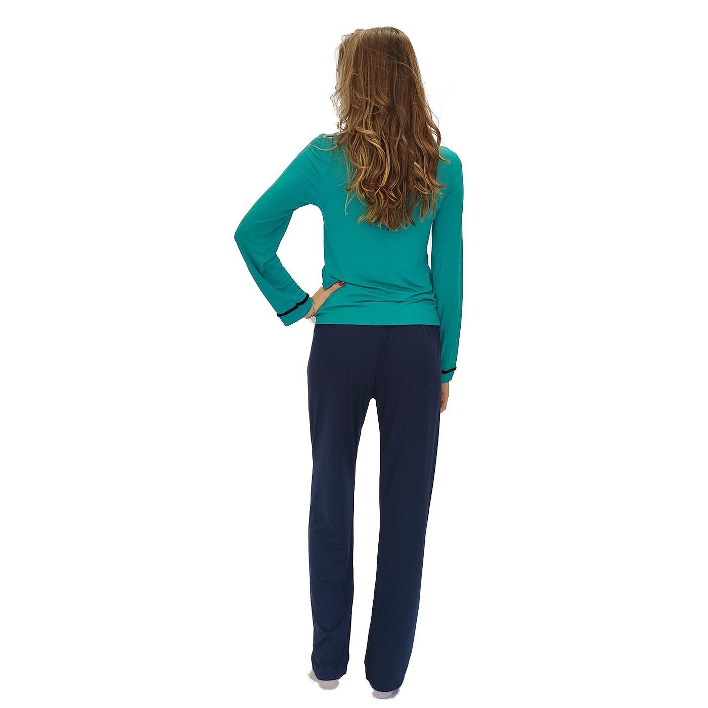 Pijama feminino frio sleepwear calça pantalona