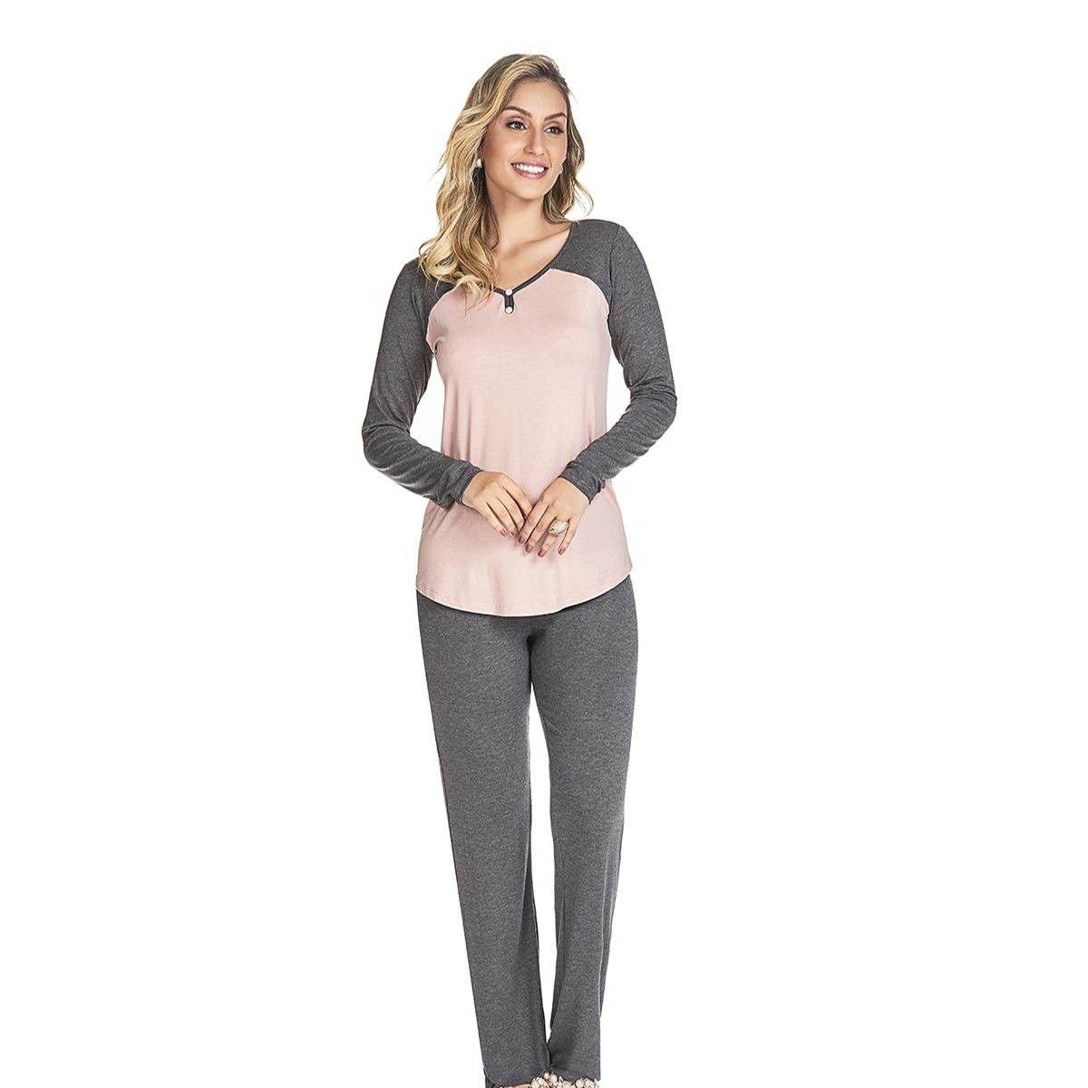 Pijama feminino inverno duas cores viscose