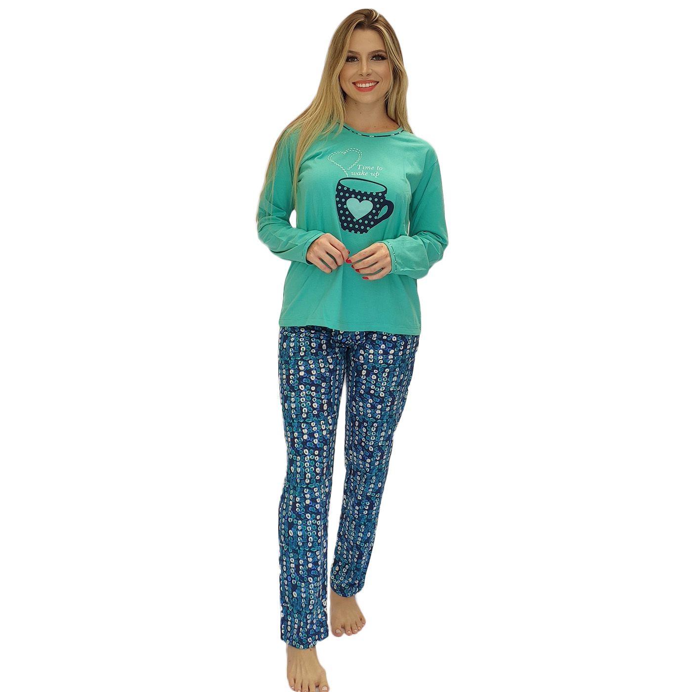 Pijama feminino inverno estampado hora de dormir algodão