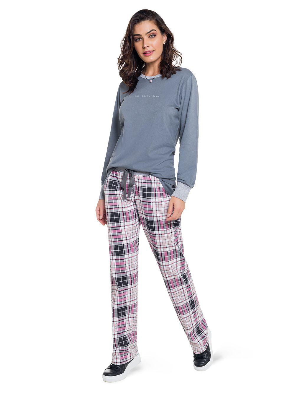 Pijama feminino inverno manga longa calça xadrez
