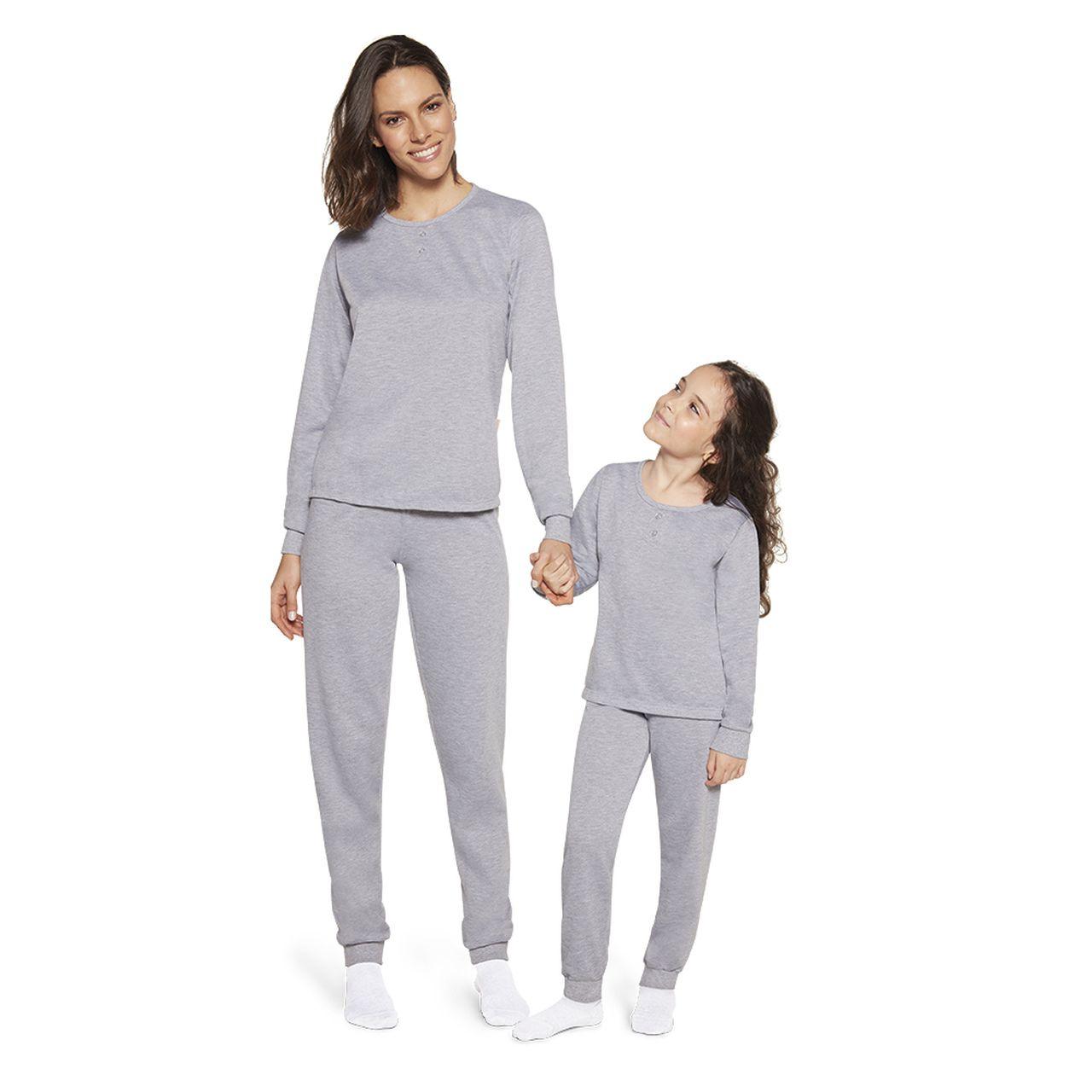 Pijama feminino inverno mescla calça punho mãe lupo