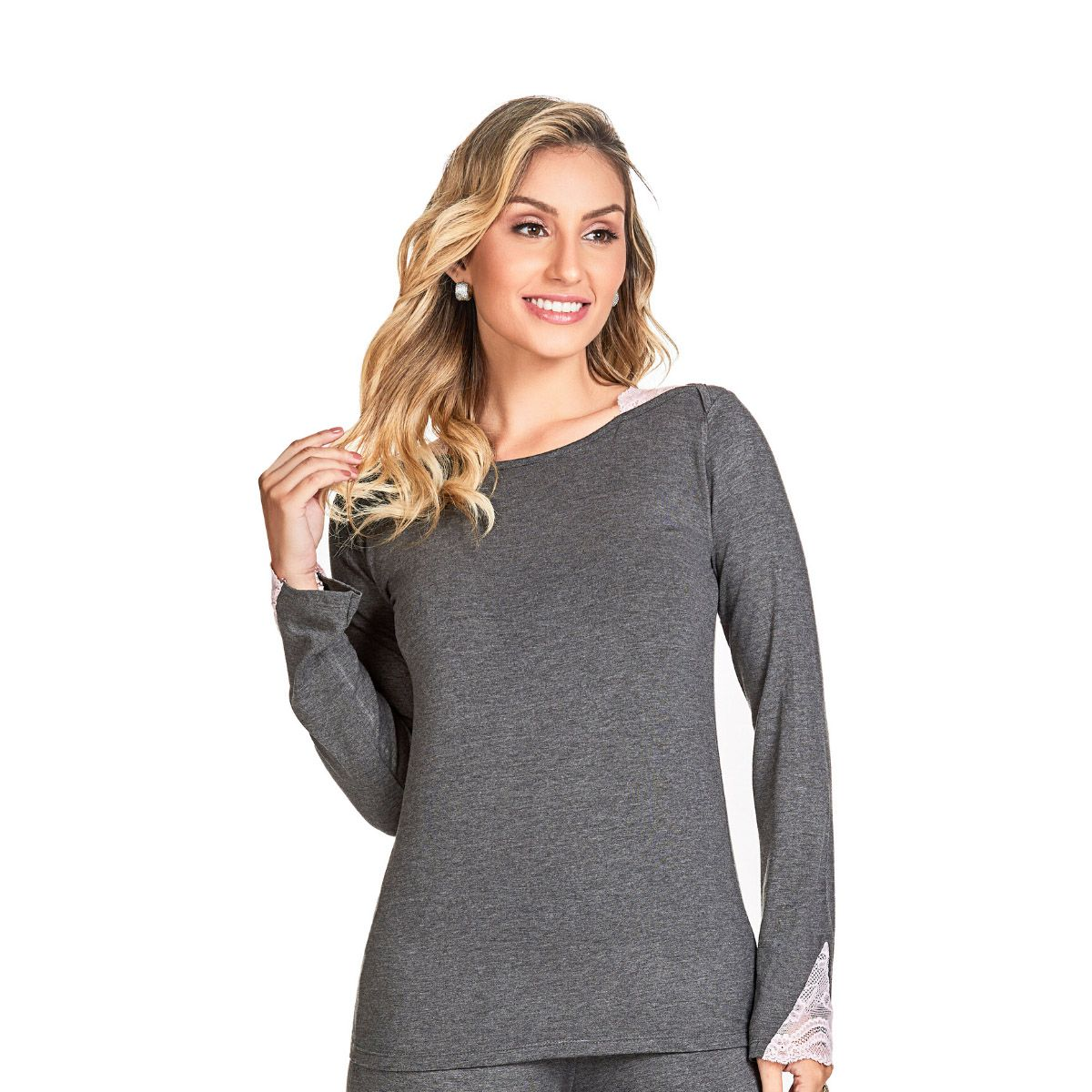Pijama feminino inverno mescla detalhe renda ombro punho