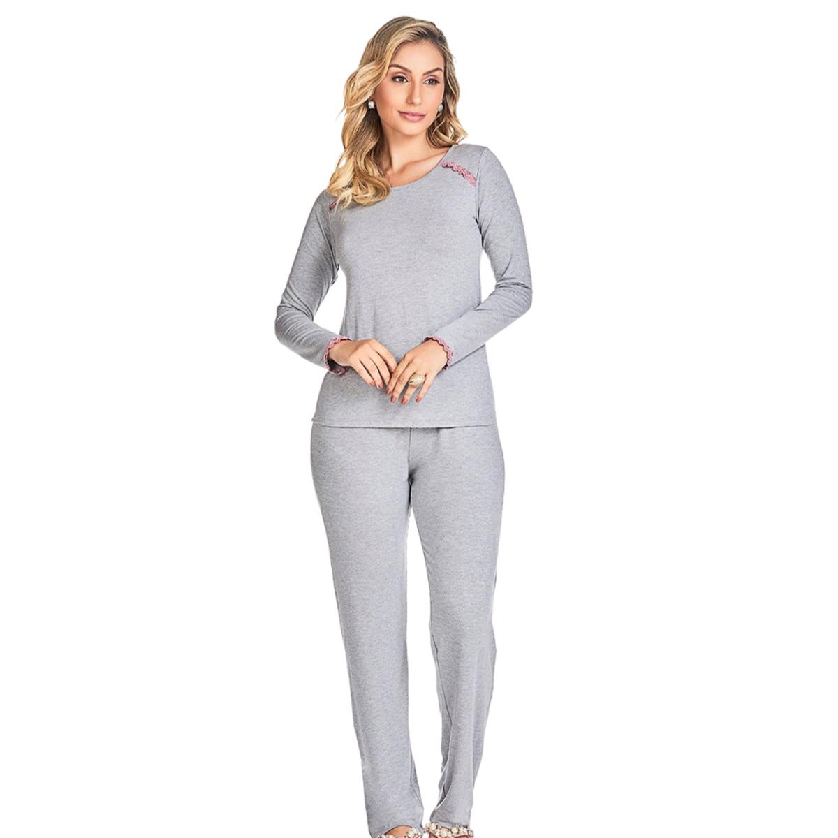 Pijama feminino inverno mescla detalhes manga