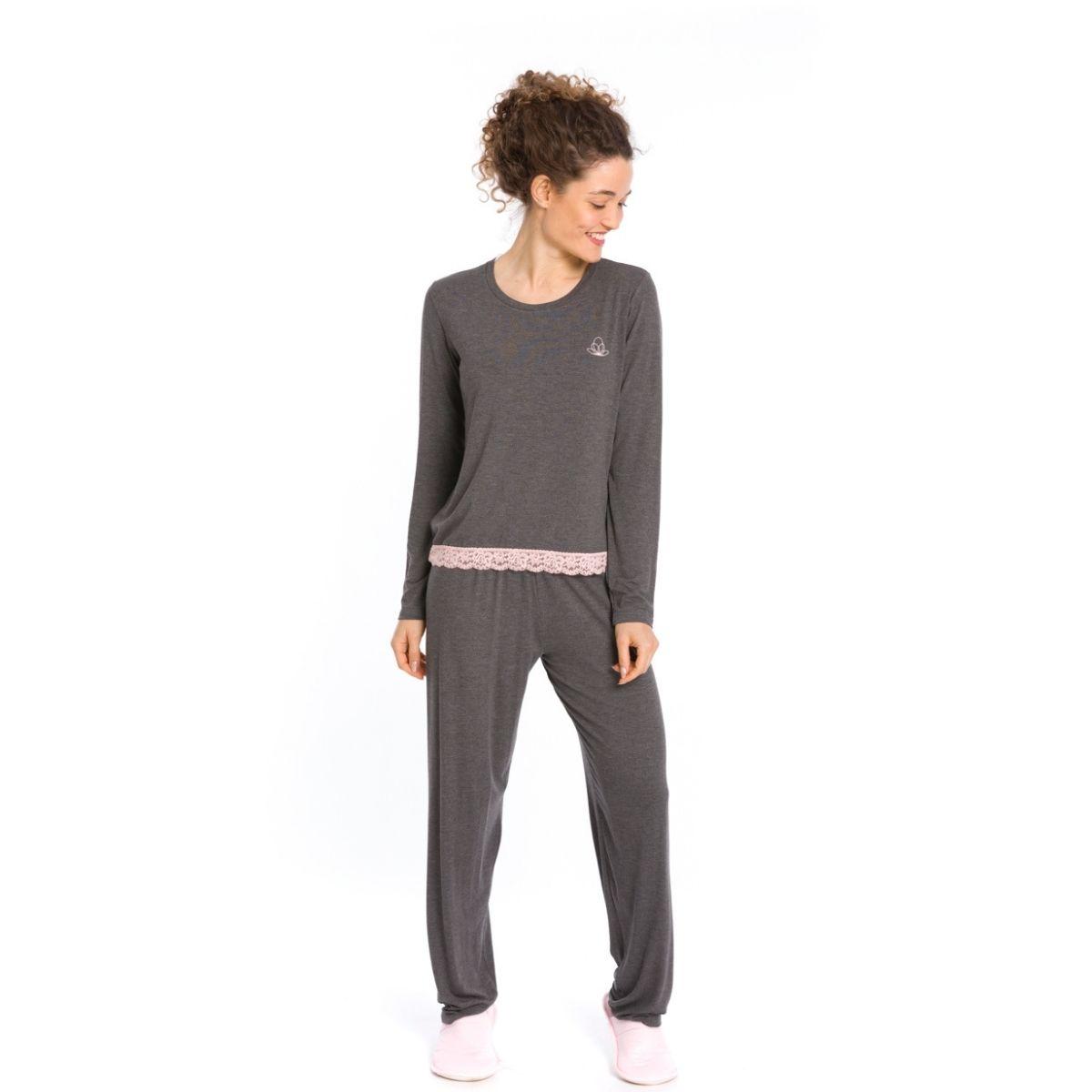 Pijama feminino inverno mescla detalhes renda quentinho