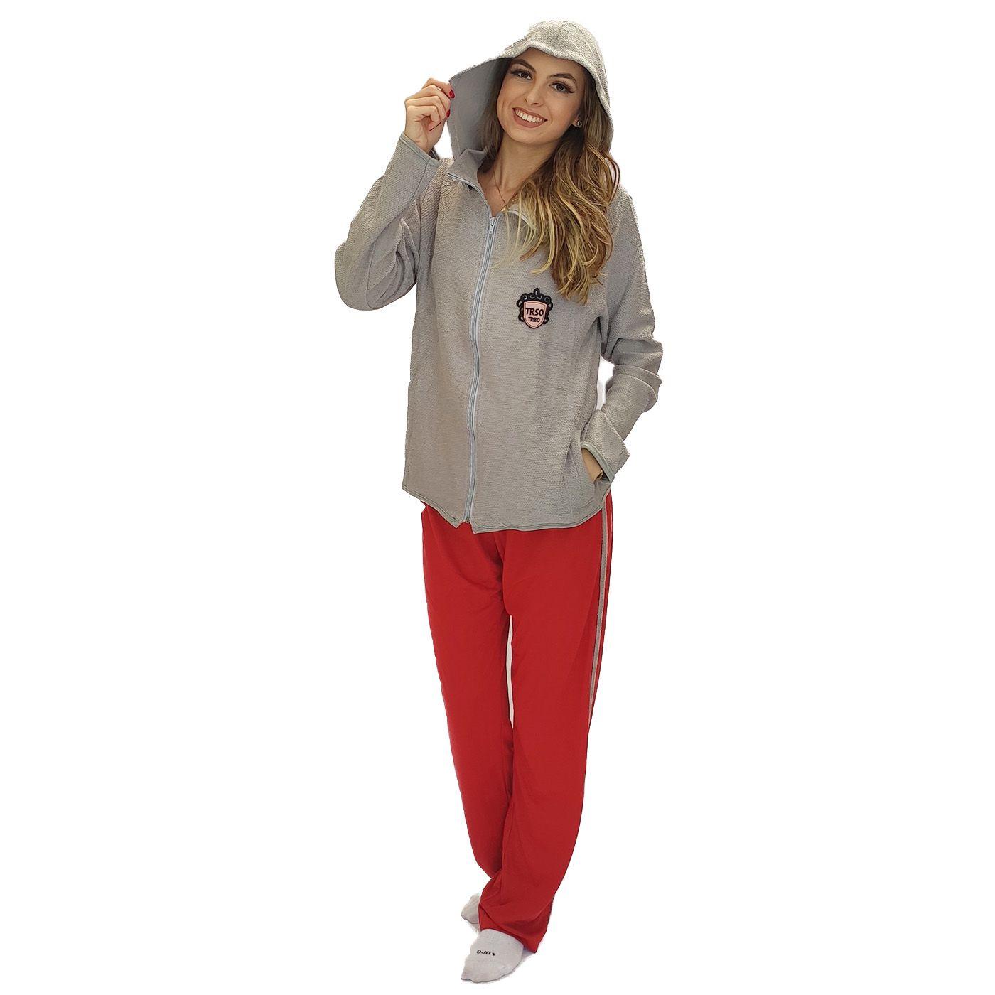 Pijama feminino inverno moleton blusa zíper calça molinha