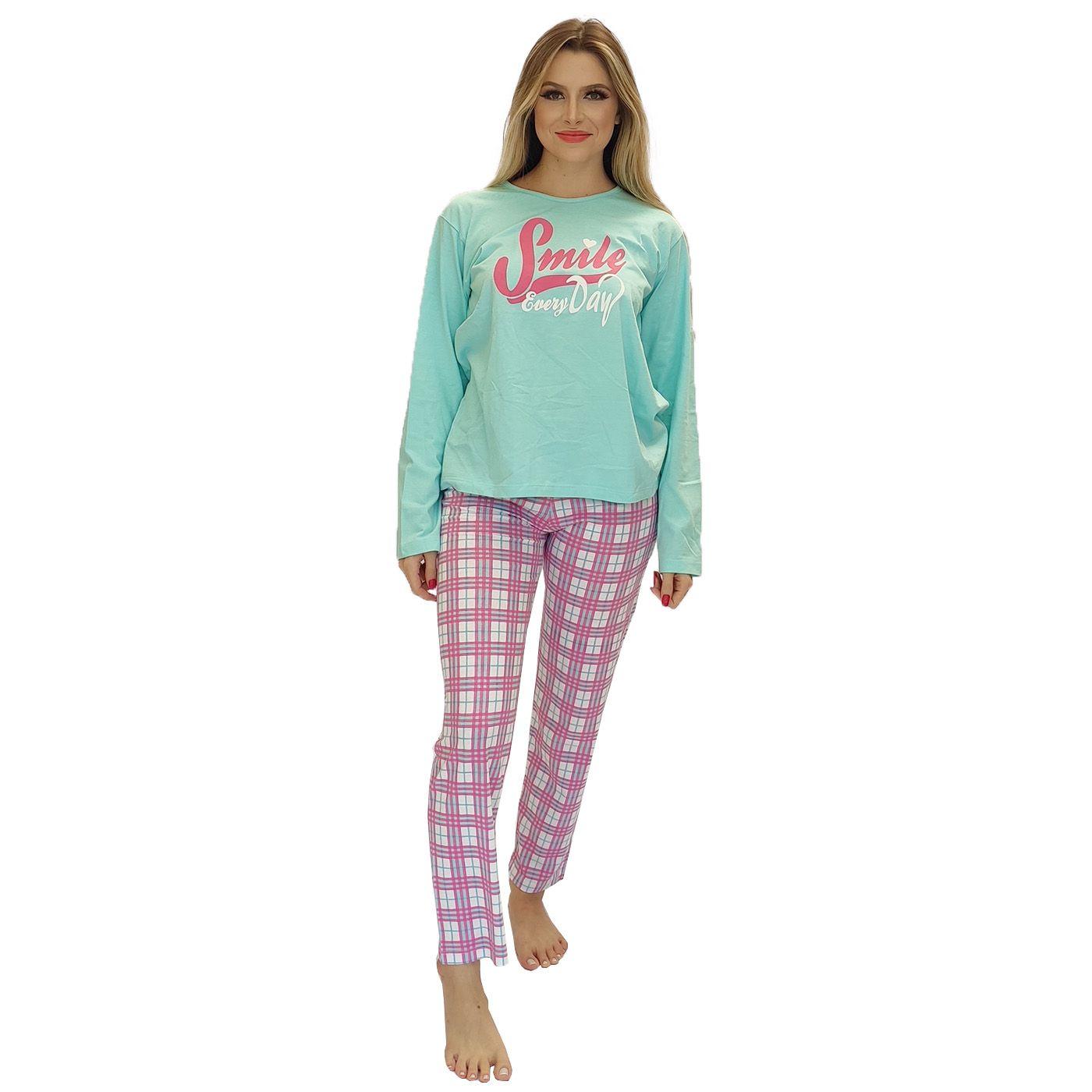 Pijama feminino inverno sorria xadrez algodão