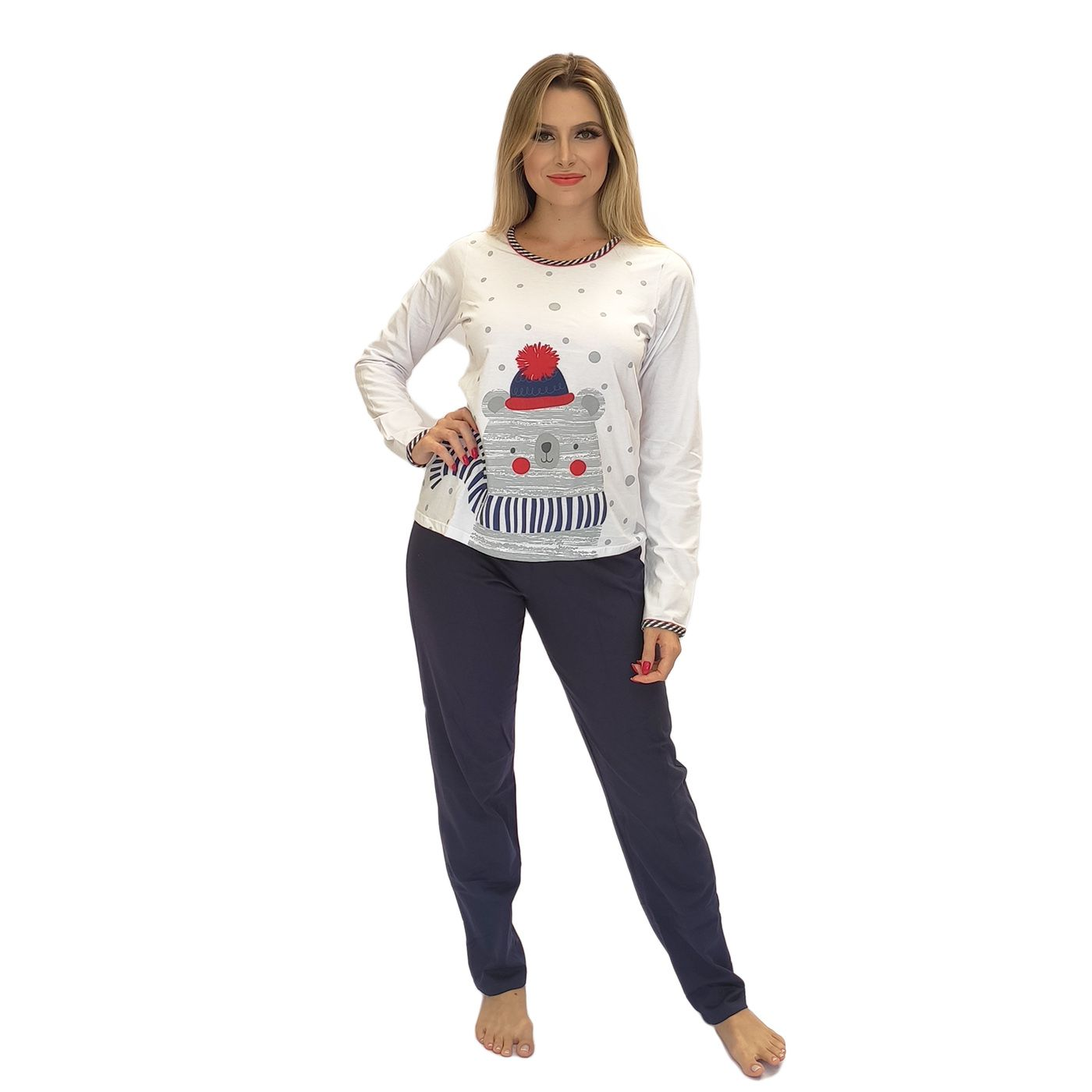 Pijama feminino inverno ursinho algodão super macio