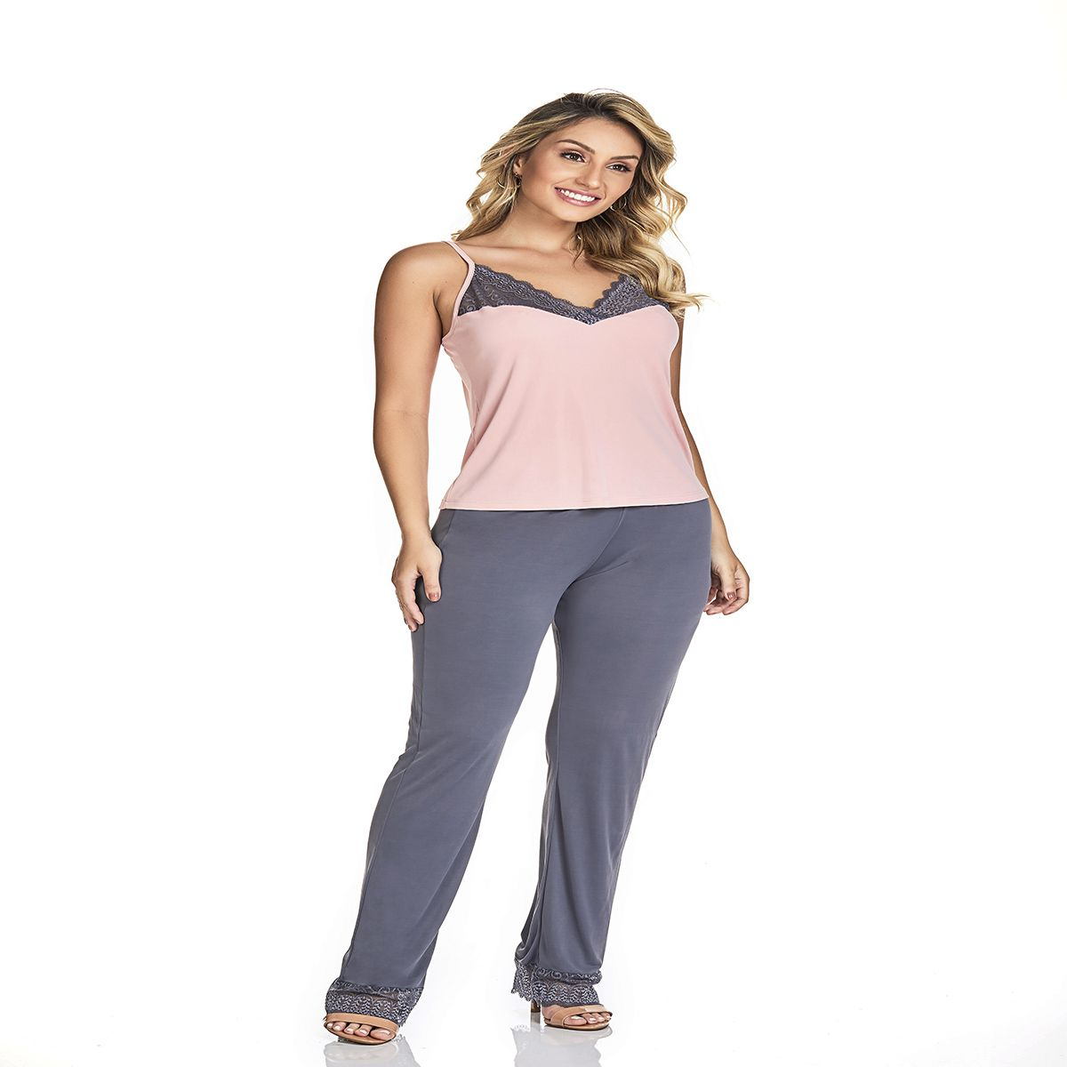 Pijama feminino meia estação blusa alcinha calça liganete