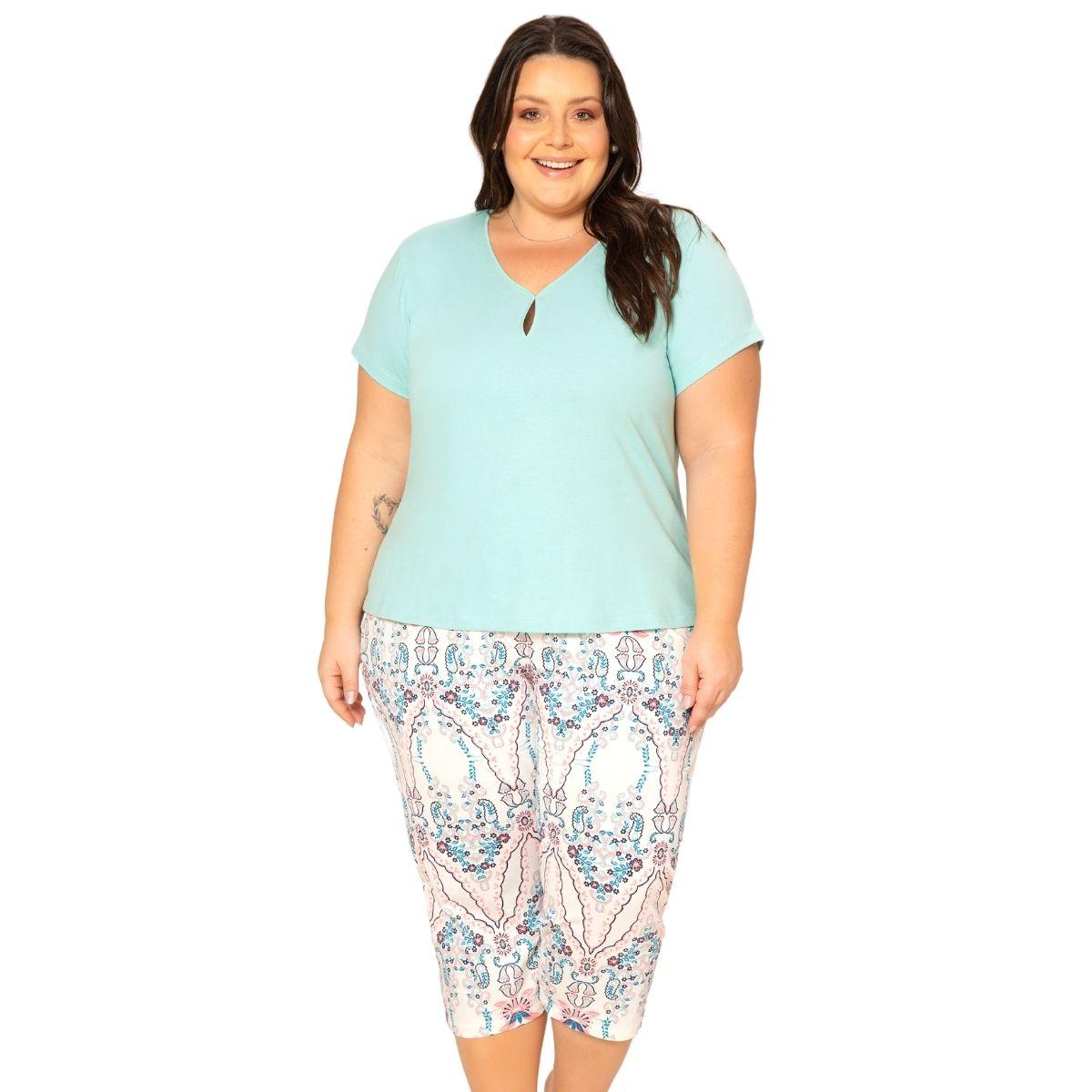Pijama feminino meia estação plus size calça capri