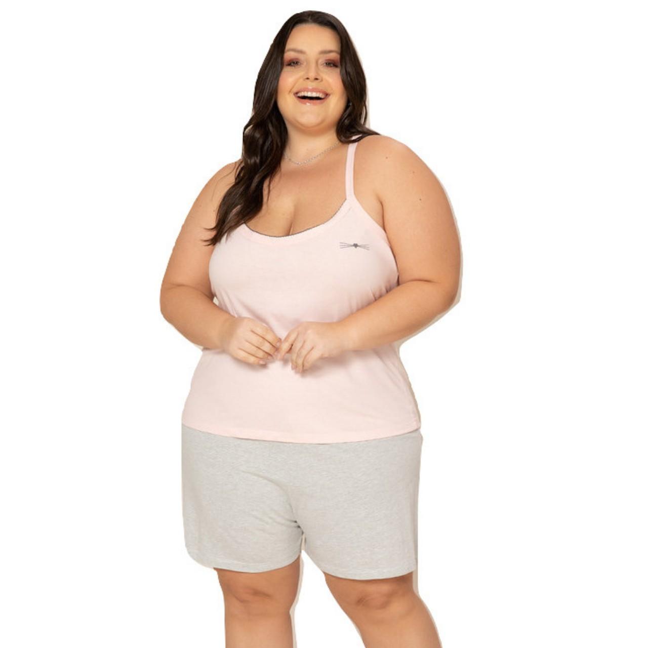 Pijama feminino plus size blusa alcinha bermuda c/ bolso