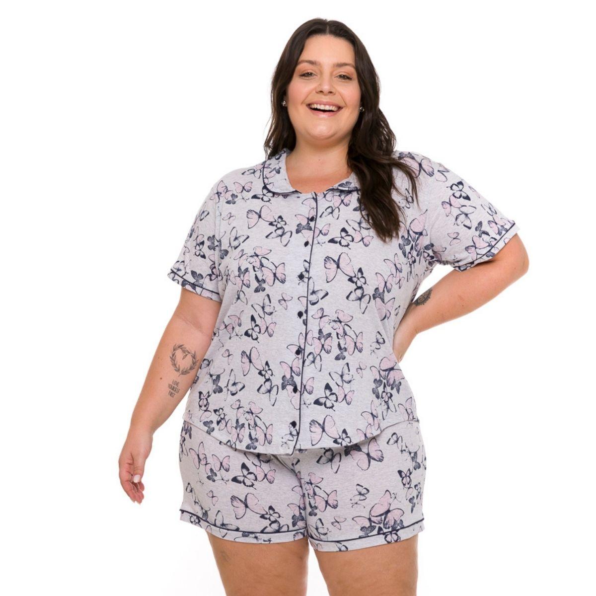 Pijama feminino plus size de botão manga curta amamentação