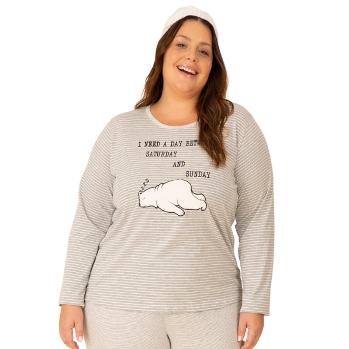Pijama feminino plus size urso família algodão listra