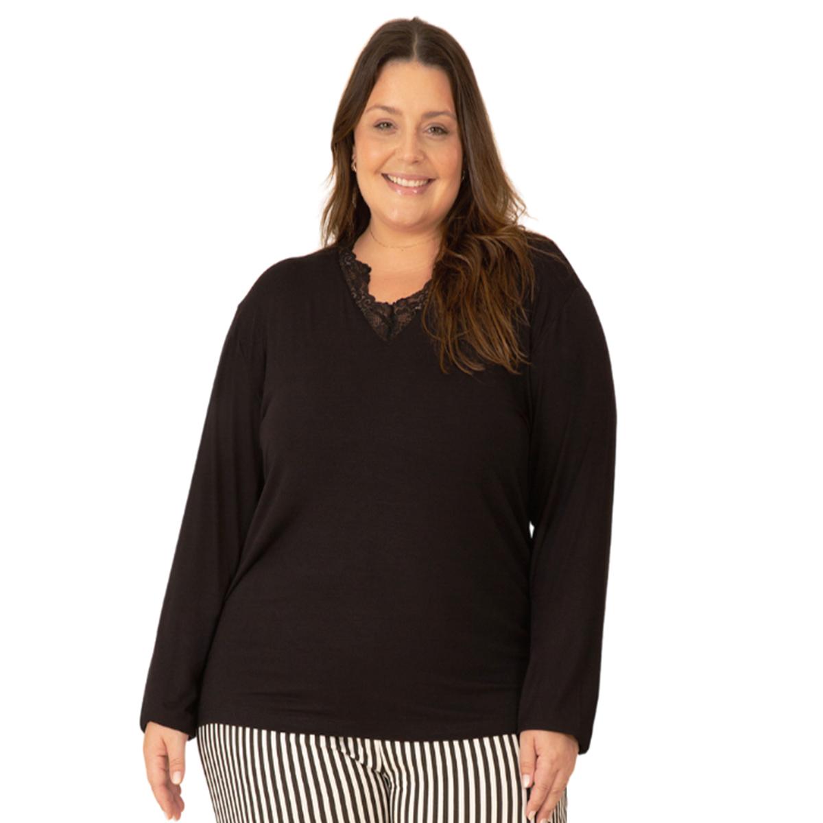 Pijama feminino plus size viscolycra detalhe renda preto