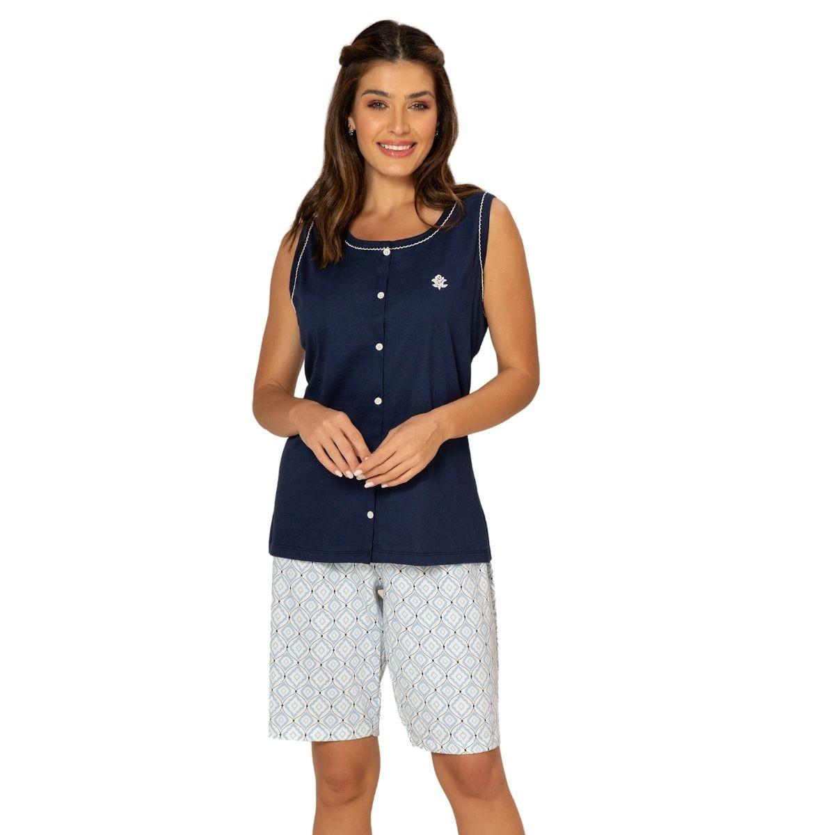 Pijama feminino pós cirúrgico blusa regata com botão bermuda