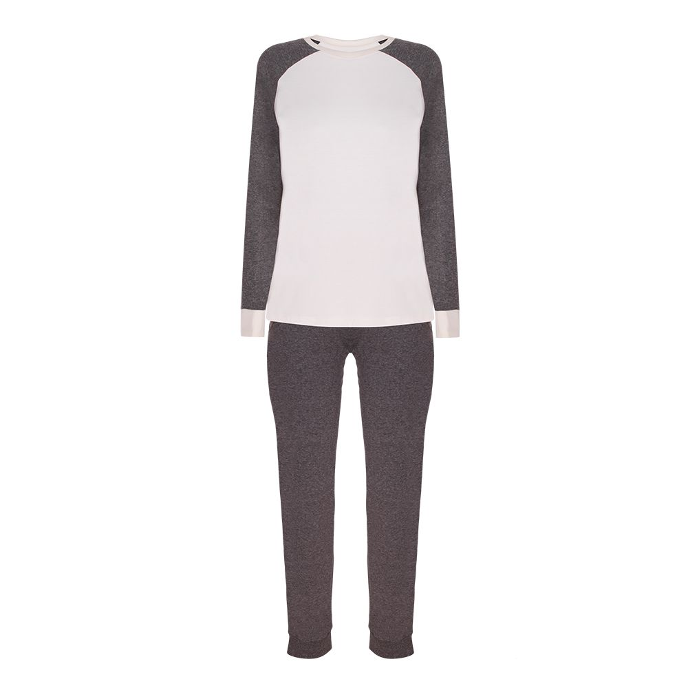 Pijama feminino viscose duas cores inverno com punhos lupo