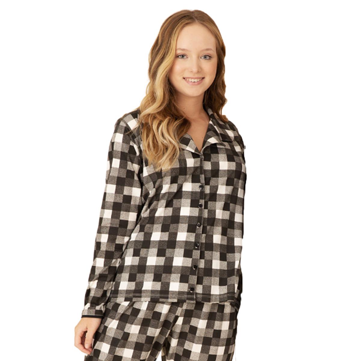 Pijama feminino americano botão xadrez preto algodão