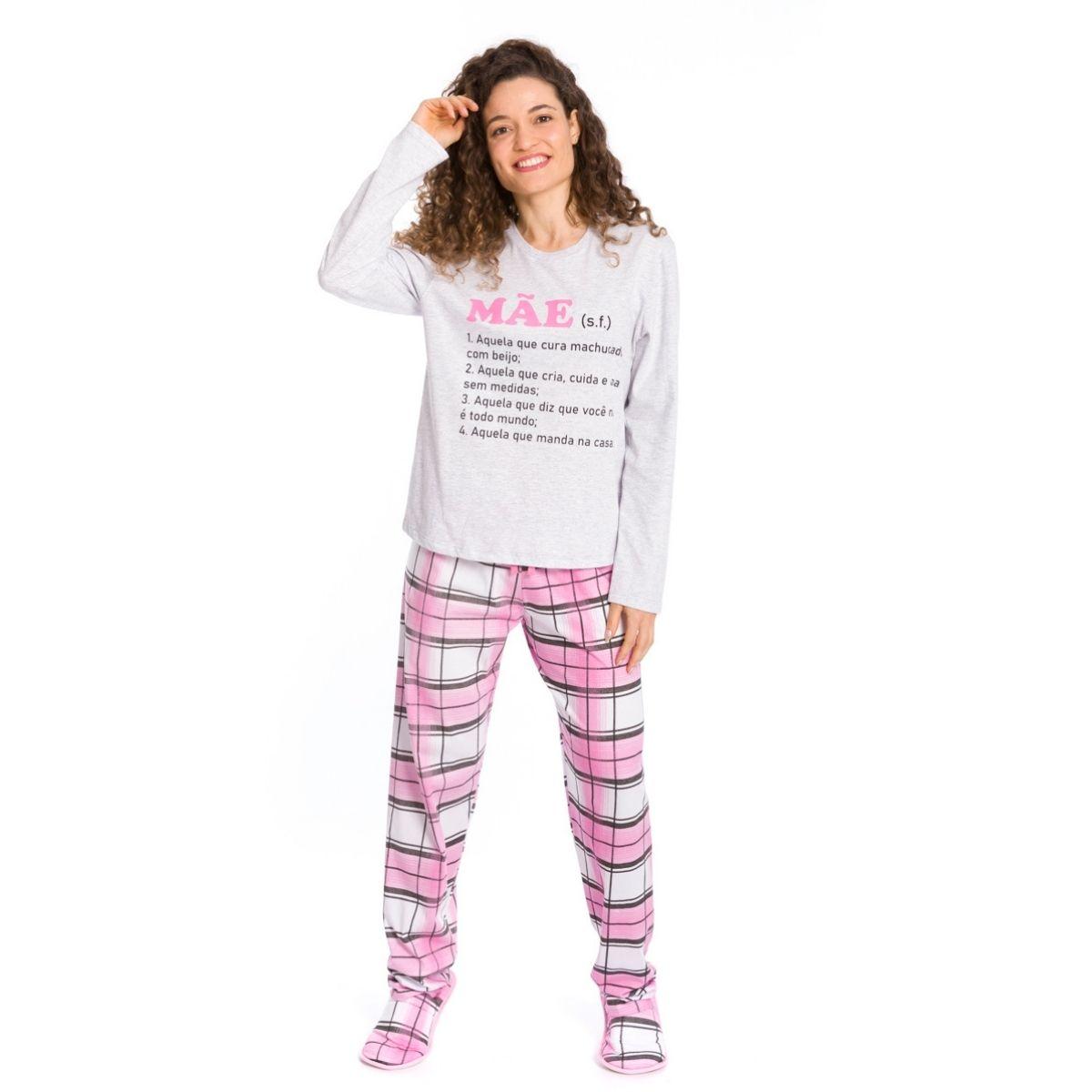 Pijama feminino xadrez mãe algodão