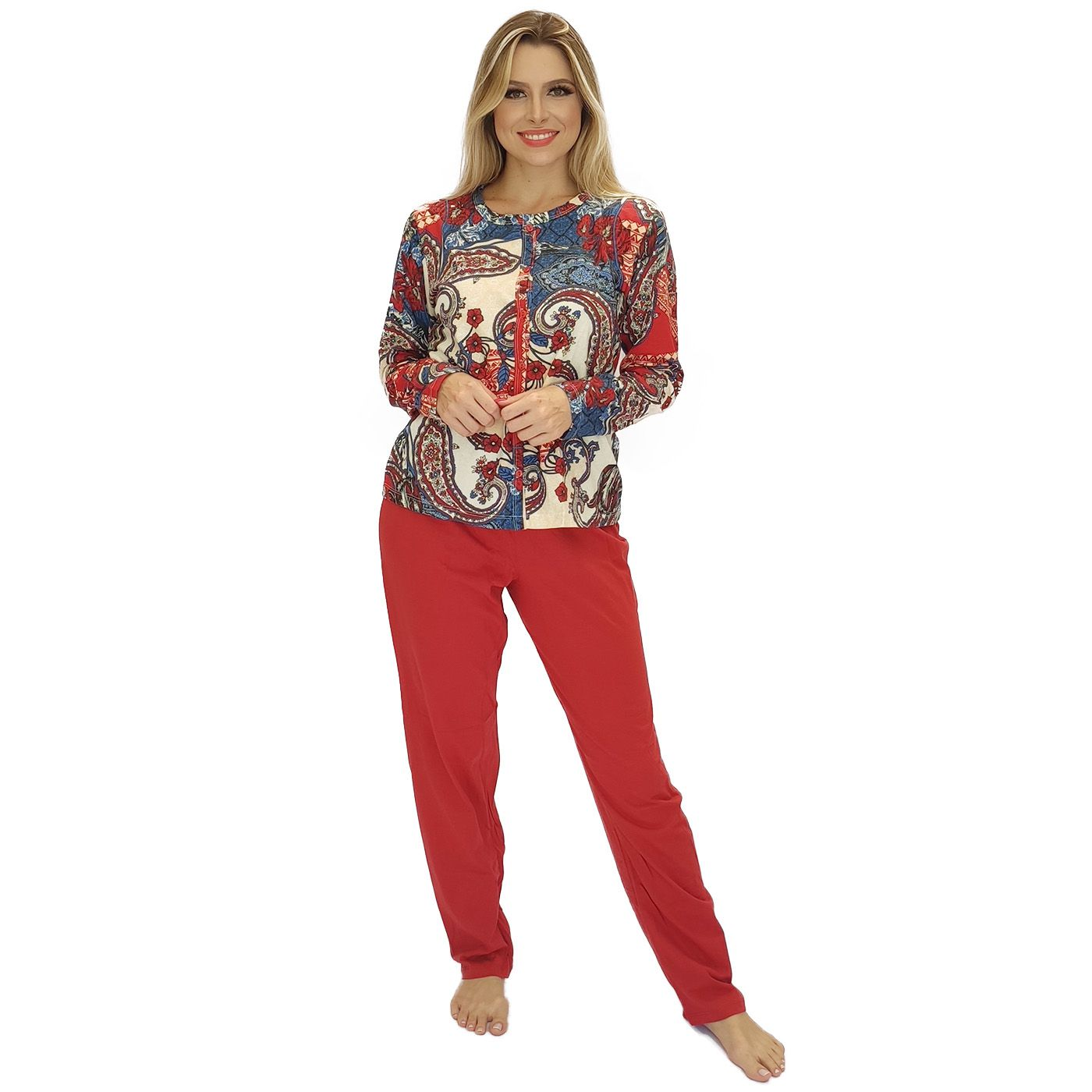 Pijama femino adulto frio blusa de botão algodão
