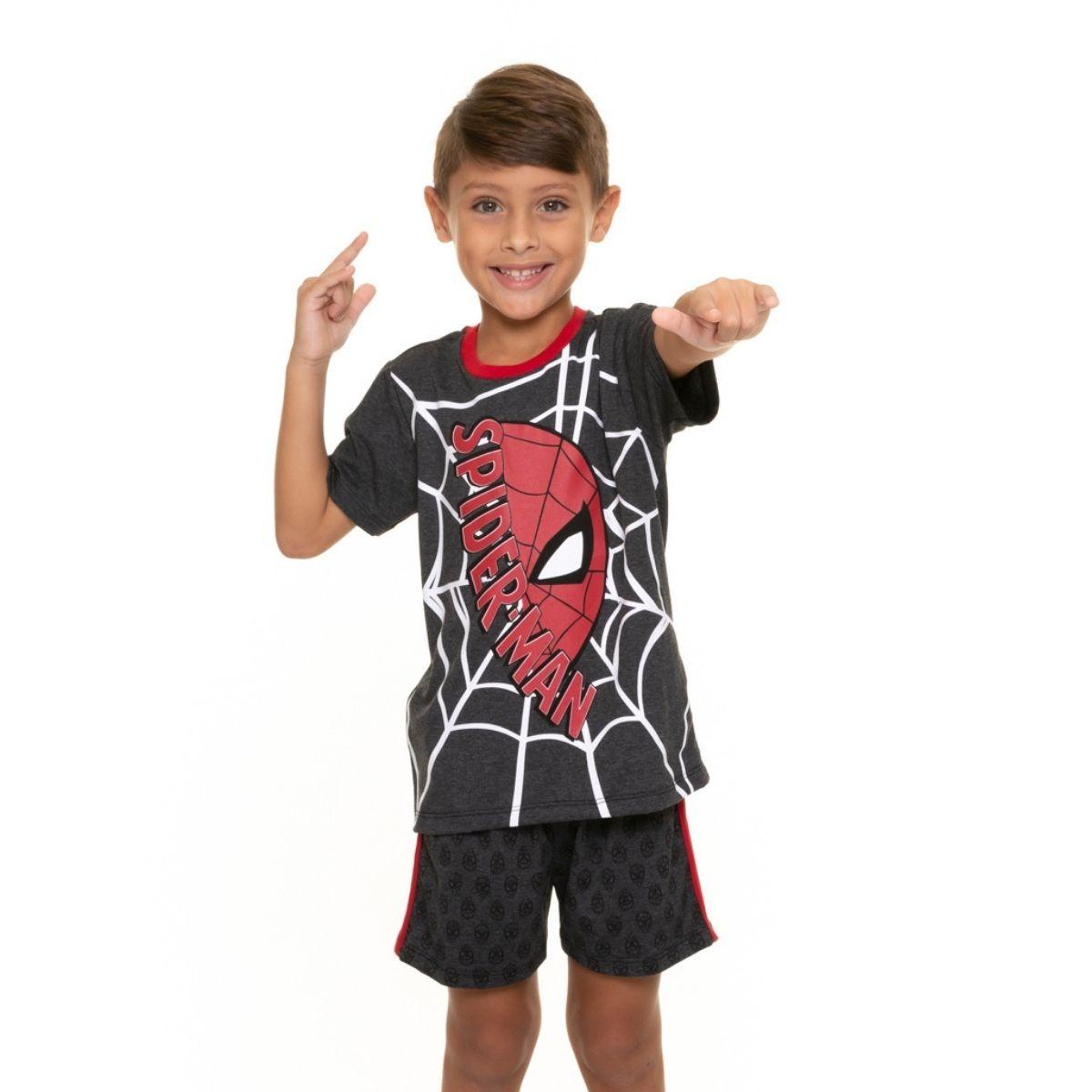 Pijama filho infantil homem aranha preto personagem marvel