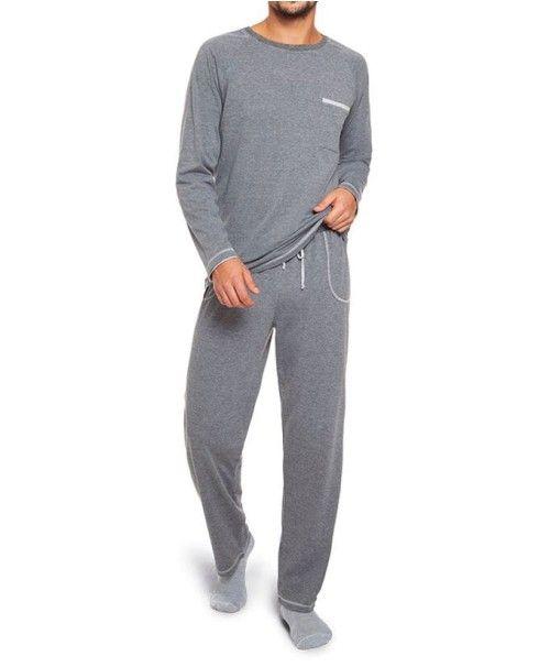 Pijama frio longo masculino inverno algodão lupo