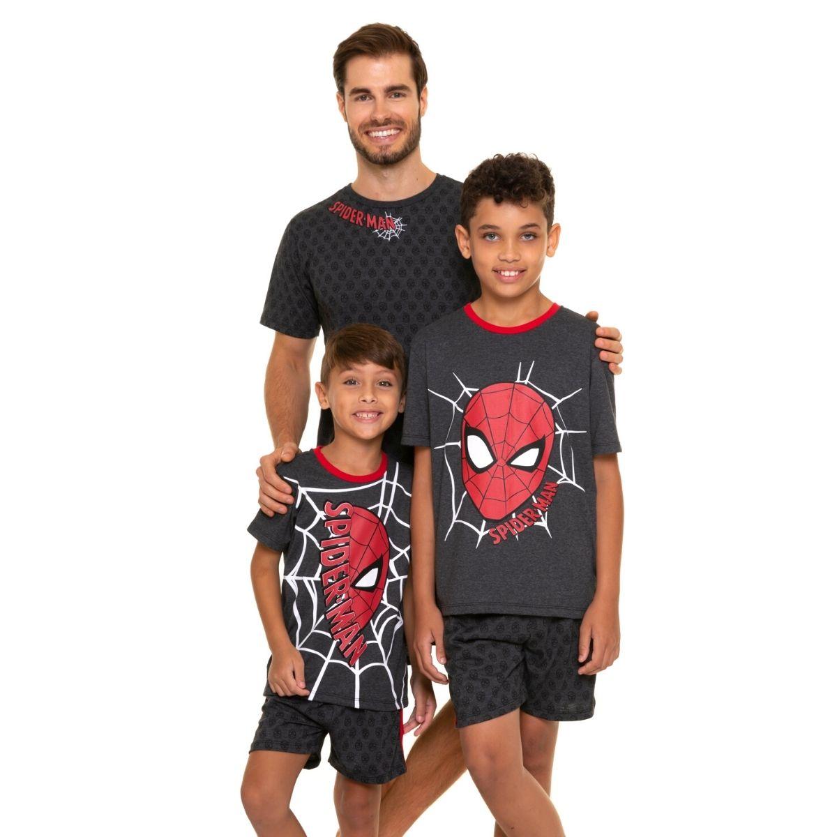 Pijama spider man masculino adulto curto de verão