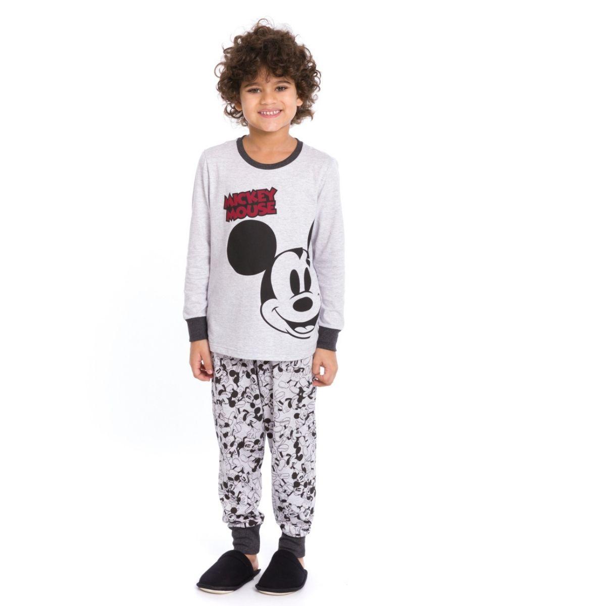 Pijama infantil menino Mickey algodão frio mescla