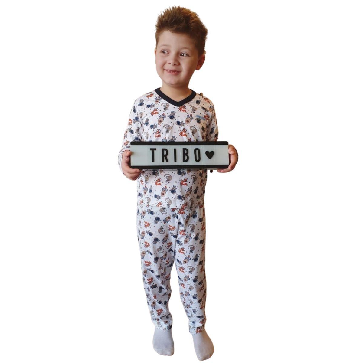 Pijama infantil brilha no escuro masculino inverno foguete