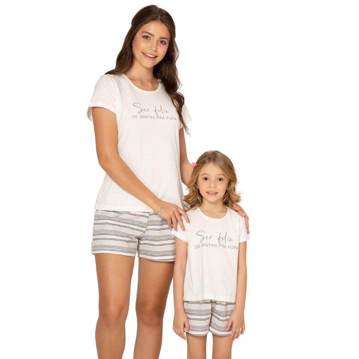 Pijama infantil de algodão menina blusa c/manga short doll