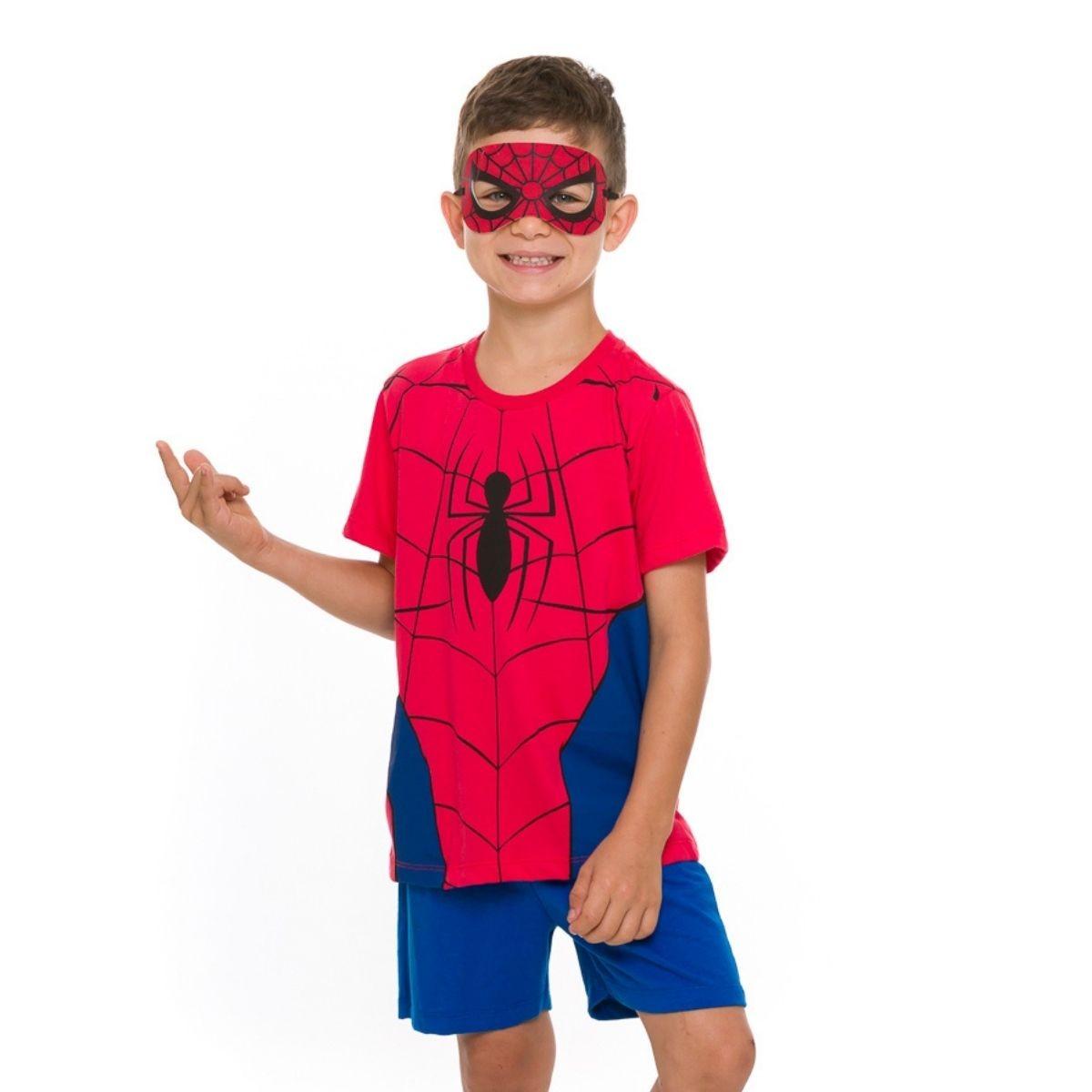 Pijama infantil de calor homem aranha brinde mascara marvel