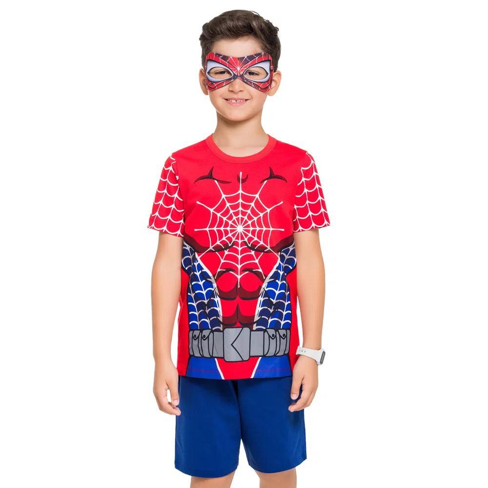 Pijama infantil de calor menino homem aranha marvel